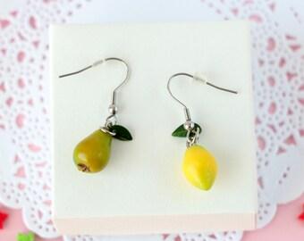 Cute lemons pears earrings miniature food jewelry dangle lemon earrings citrus rockabilly polymer clay jewelry womens fruit kitsch earrings