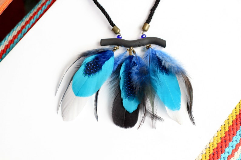 Real feather necklace bohemian necklace blue white black feathers festival tribal necklace bohemian jewelry statement feathers necklace