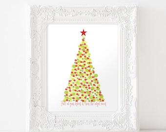 O Holy Night Print • Christmas Art Print • Printable Art • Christmas Sign • Christmas lyrics • Christmas Tree Art • Colorful Christmas print