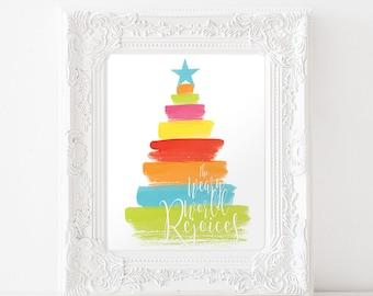 Christmas Art Print • Printable Art • Christmas Sign • O Holy Night Print • Christmas lyrics • Christmas Tree Art • Colorful Christmas print