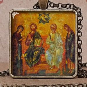 Icon of Holy Trinity pendant necklace or keychain