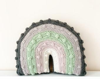 crochet rainbow Pom Pom cushion Mini pastel rainbow cushion pastel nursery rainbow cushion boho rainbow nursery decor