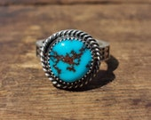 Natural Egyptian Turquoise Sterling Stacking Ring size 5.75 US One of a Kind