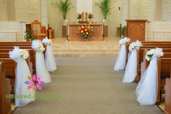 Wedding Aisle Decorations | Pew Flowers For Wedding Pew Decorations Wedding Church Pew Etsy