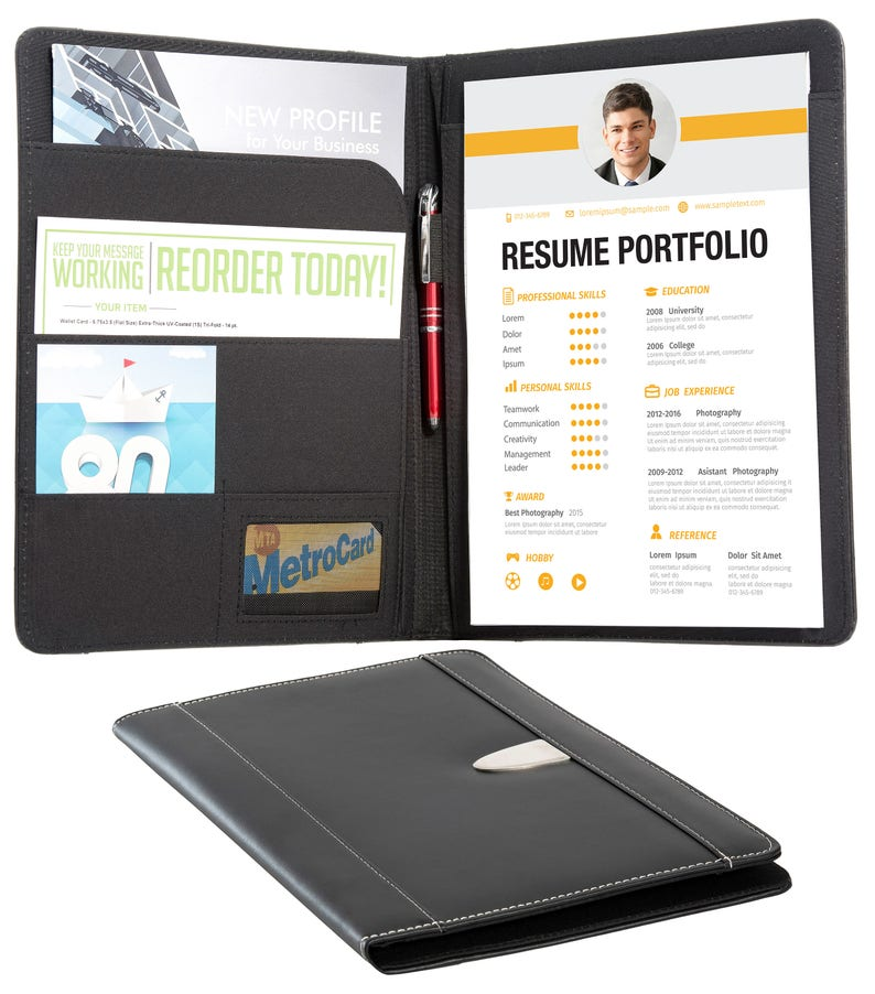 Resume Portfolio Padfolio - Genuine Bonded Leather Portfolio with  Replaceable A4 Writing Pad, Document Holder, Card Holder and Pen Holder