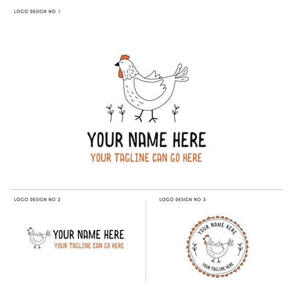Chicken Logo Farm Logo Food Blog Logo Design Organic Food Etsy