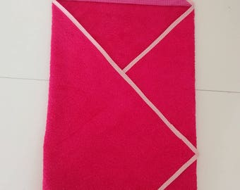 Personalized bath towel fuchsia and pink and white striped fabric Cape