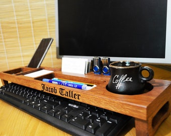 Wood Anniversary Gift For Him Wooden Desk Organizer Etsy