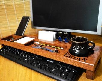 Personalized anniversary gift for him, Gift for men, Gift for Dad, Boyfriend gift, Husband gift  - Wood Desk Organizer Dock Station Desktop