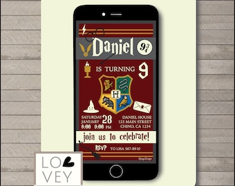 Harry Potter Electronic Invitation Birthday Party Invitations Personalized