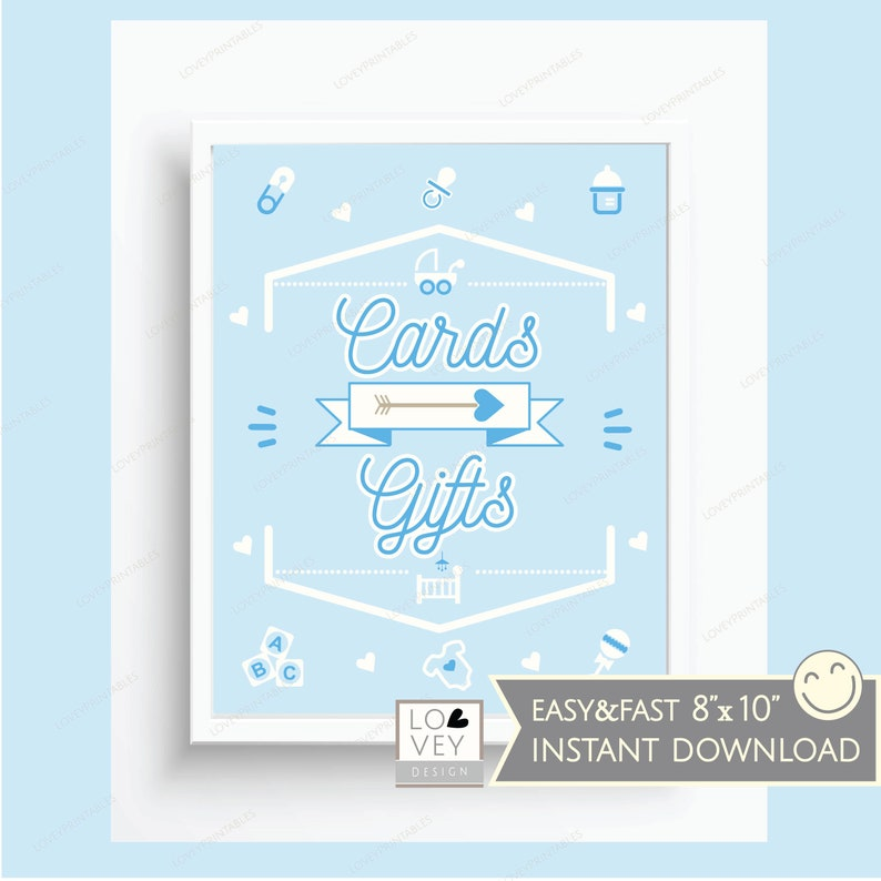 Gift Table Sign Retro Shower Gifts and Cards Sign Cards /& Gifts Sign Blue and White Shower Sign Blue Boy Baby Shower Decor