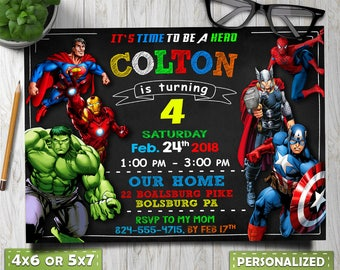 Avengers Birthday Invitation Party Superhero