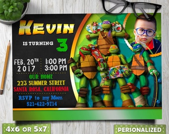 Ninja Turtle Invitation Birthday Printableninja Digital