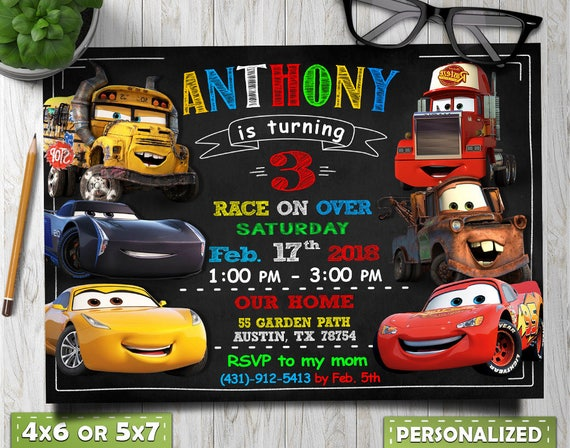 Cars Invitation Birthday Party Invite