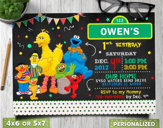Sezamkowa Ulica Urodziny Sesame Street Urodziny Zaproszenie Etsy