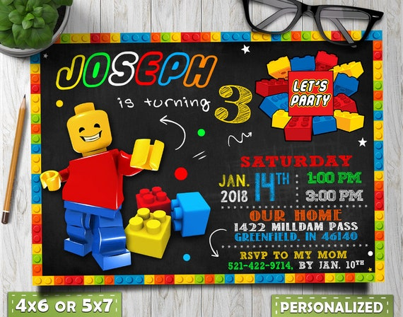 Lego Birthday Invitations Party