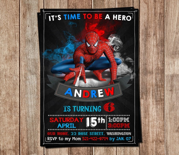 Spiderman Invitation Spiderman Invite Spiderman Birthday Etsy