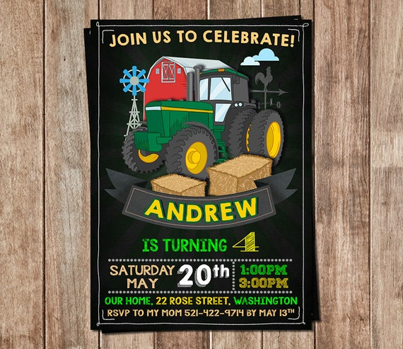Traktor Einladung Traktor Geburtstag Traktor Etsy