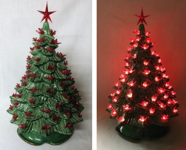 Ceramic Christmas Tree Light 15 Inch Tall Green Without Snow Red Bird Lights