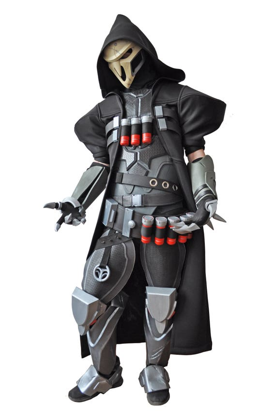 full reaper costume from overwatch with shotguns overwatch etsy
