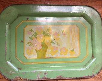 Floral Antique Decorative Metal Tin Tray
