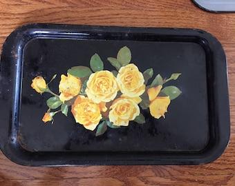 Decorative Vintage Floral Metal Tin Tray