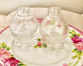 Imperial glass round Vintage Candlewick Salt & Pepper Shakers