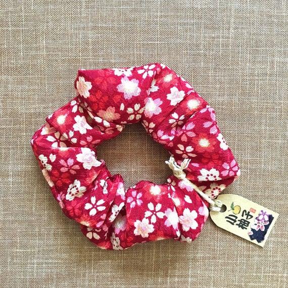 Ponytail HolderUme Flower print Chirimen FabricJapanese crapeRed Kimono ScrunchiesHair Tie