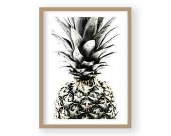 Pineapple Print, Tropical Fruit Wall Art, Kitchen Decor, Black and White Art, Scandi Decor, Modern Minimalist Decor, Kitchen Wall Art