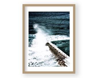 Ocean Print, Ocean Wall Art, Ocean Waves Art, Ocean Photography, Surf Print, Surf Poster, Blue and White Art,  Living Room Decor