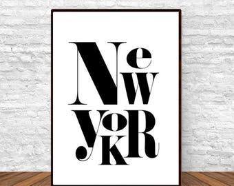 New York Poster, Black and White Art, Scandi Decor, Modern Wall Decor, Typography Poster, Dorm Decor, Housewarming Gift,
