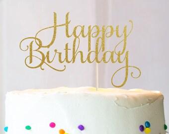 Happy Birthday Cake Topper, Cake Decoration, Glitter, Birthday Decoration, Party, Custom, Gold, Silver, Birthday Party