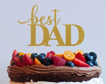 Best Dad Cake Topper Decoration Glitter Gold Silver Birthday Party Fathers Day Papa Daddy