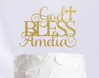 Personalized God Bless Cake Topper, Cake Decoration, Glitter, Party Decoration, Custom, Gold, Silver, Baptism, Christening, Holy Communion