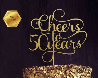 Cheers to 50 Years, 50th birthday Cake Topper, Happy 50th Cake Decoration, 50th Anniversary Glitter Topper, Fiftieth Party Decor, Fifty Cake