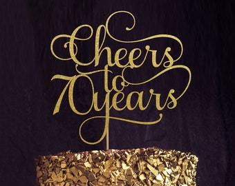 Cheers to 70 Years, 70th birthday Cake Topper, Happy 70th Cake Decoration, 70th Anniversary Glitter Topper, Seventieth Decor, Seventy Cake