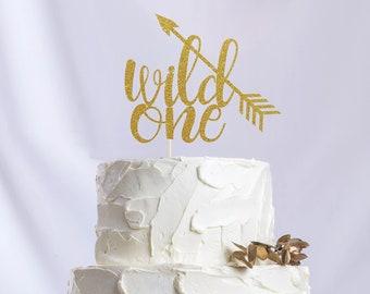 Wild One Cake Topper, Cake Decoration, Glitter, Party Decoration, Custom, Gold, Silver, Birthday, First Birthday, Bday, 1st Birthday