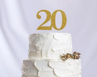 Twenty Number Cake Topper, Cake Decoration, Glitter, Party Decoration, Custom, Gold, Silver, Twentieth, Anniversary, 20th Birthday