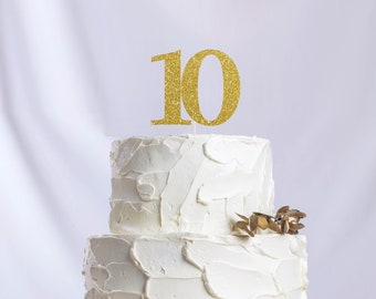 Ten Number Cake Topper, Cake Decoration, Glitter, Party Decoration, Custom, Gold, Silver, Fifth Birthday, Bday, 5th Birthday