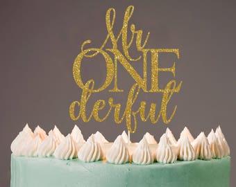Mr Onederful Cake Topper, Cake Decoration, Glitter, Party Decoration, Custom, Gold, Silver, Birthday, First Birthday, Bday, 1st Birthday