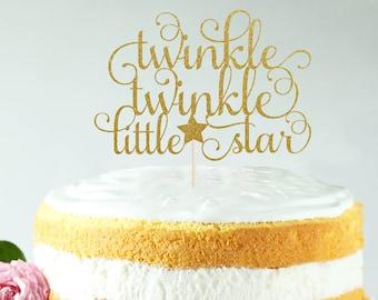 Twinkle Twinkle Little Star Cake Topper, Cake Decoration, Glitter, Gold, Silver, Baby Shower Decoration, Newborn, Birthday, Gender Reveal