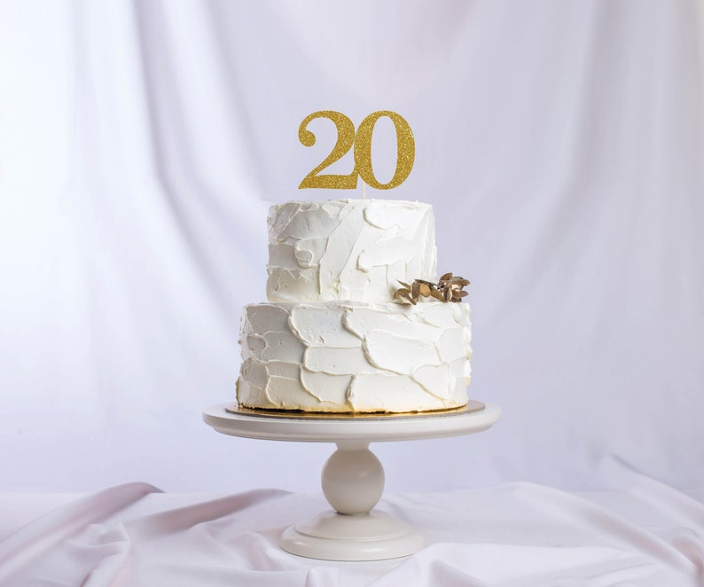 Twenty Number Cake Topper Cake Decoration Glitter Party image 0