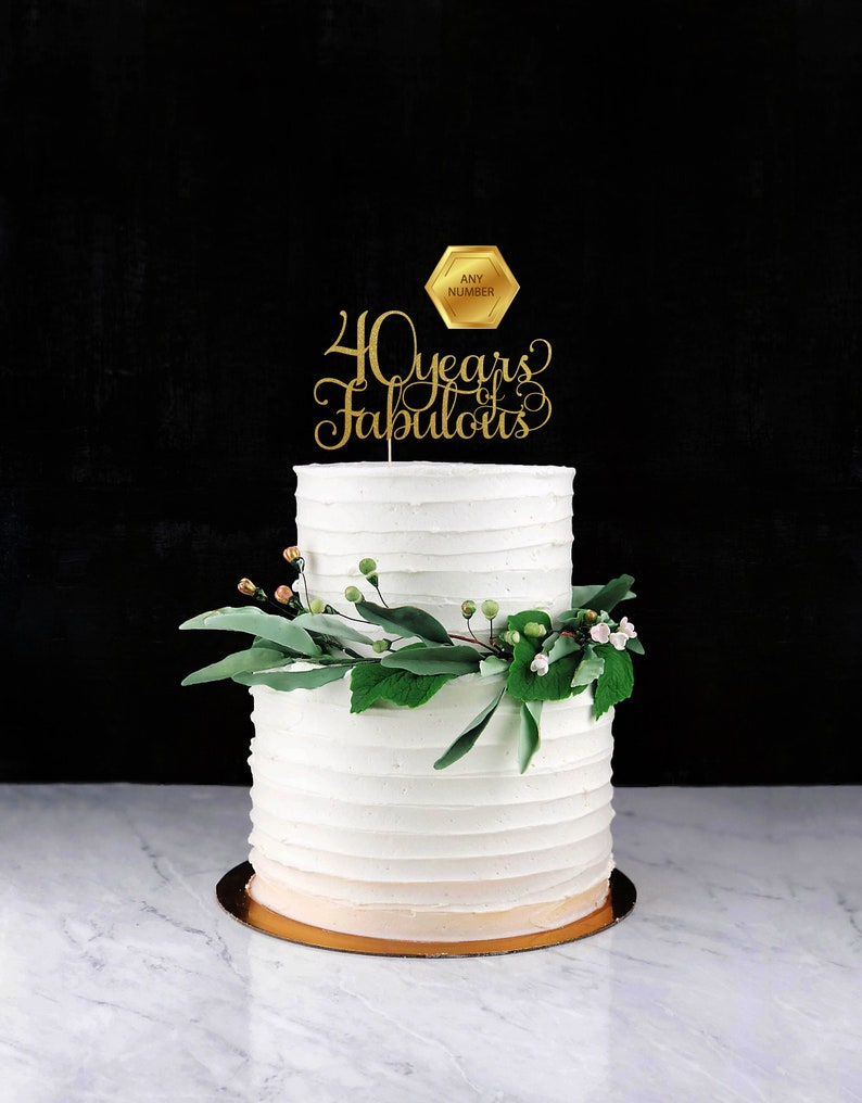 Forty years of Fabulous Cake Topper Cake Decoration Glitter image 0