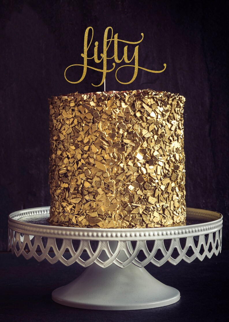 Fifty Cake Topper Cake Decoration Birthday Party Glitter image 0