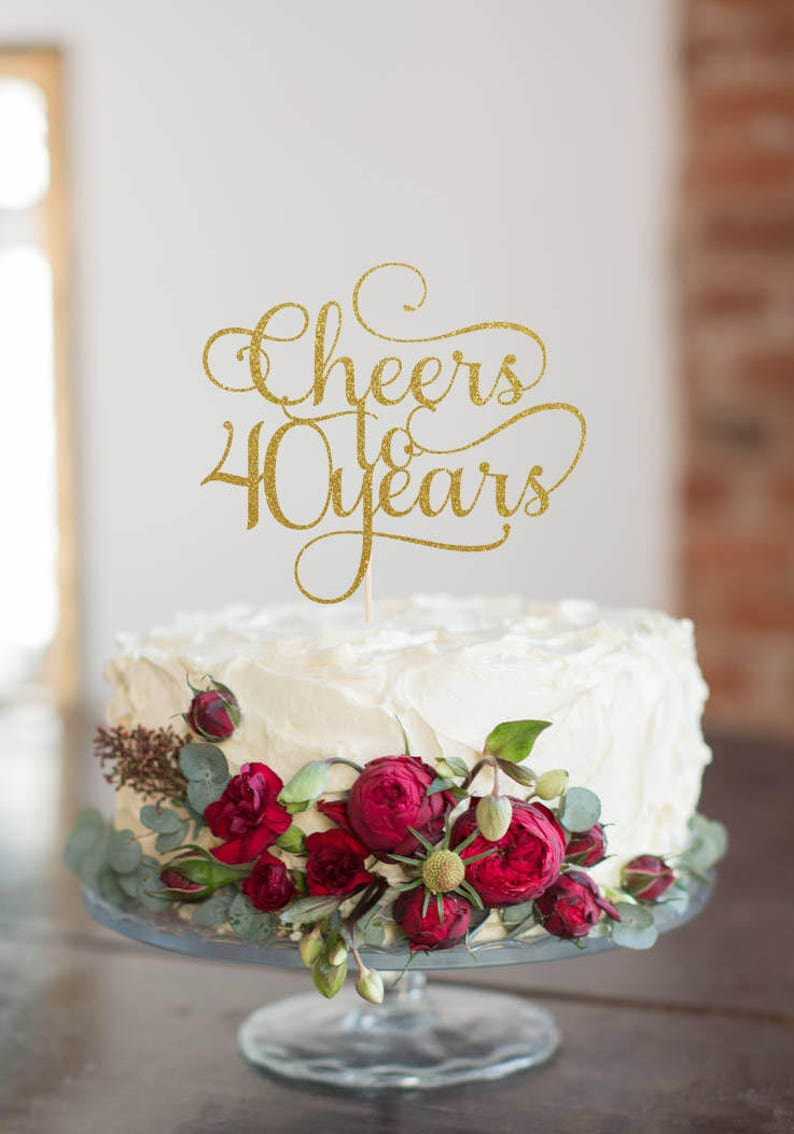 Cheers to 40 Years Cake Topper Cake Decoration Glitter image 0