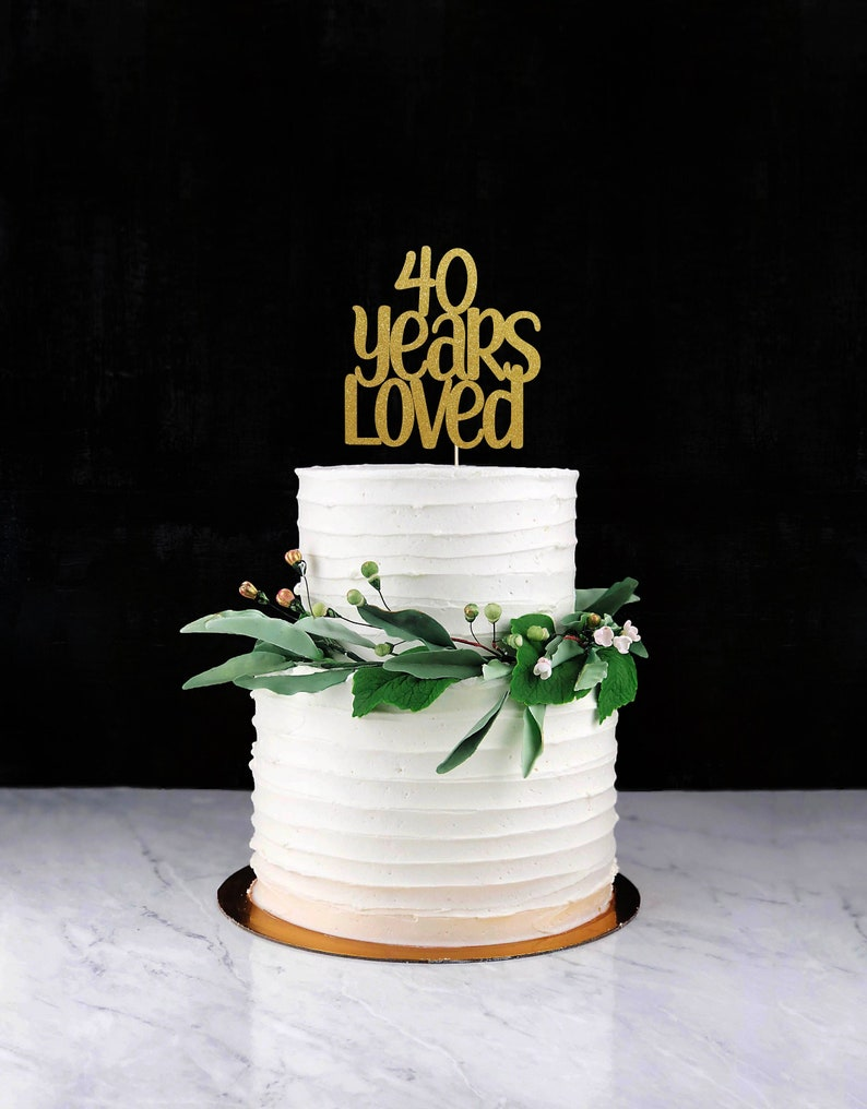 Forty Years Loved Cake Topper Cake Decoration Glitter Party image 0