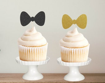 Bowtie Cupcake Topper, Glitter Topper, Cake Decoration, Glitter, Party Decoration, Gold, Birthday, Baby Shower