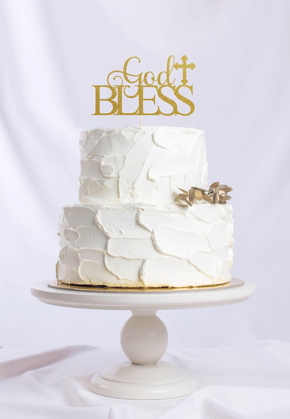 God Bless Cake Topper Gold Glitter First Communion Baby Shower Party Decorations Bless This Child