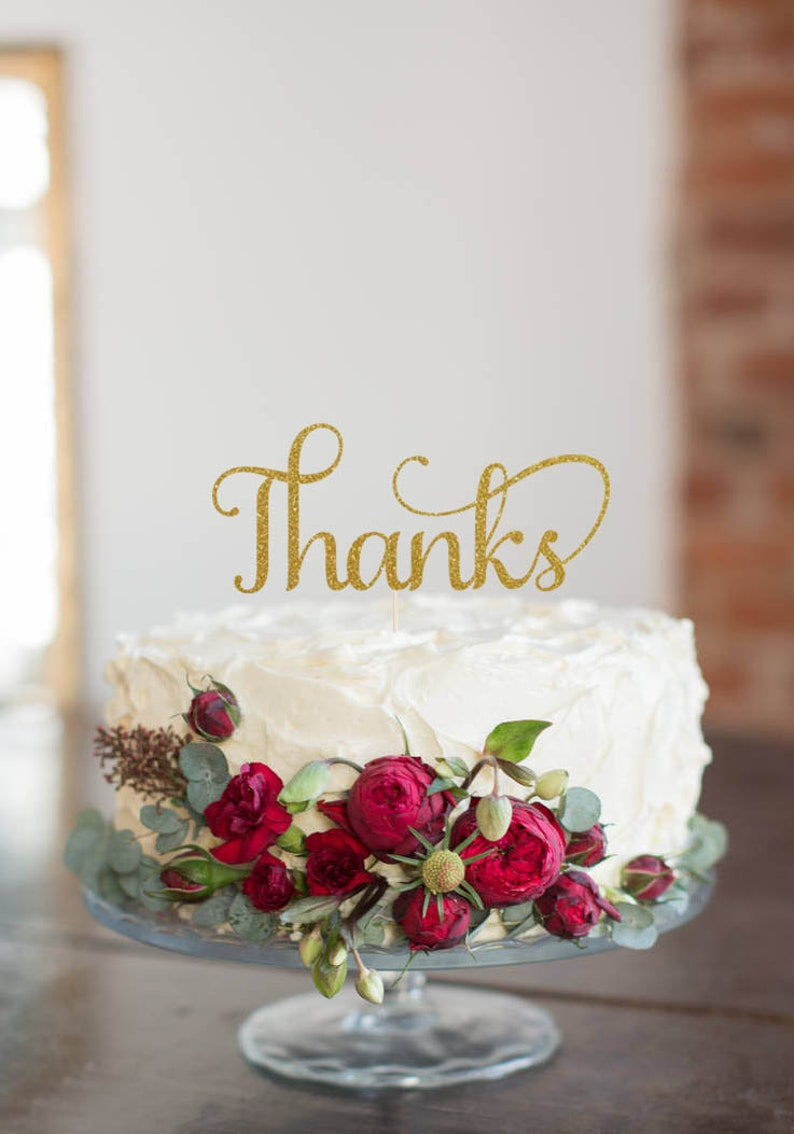 Thanks Cake Topper Cake Decoration Glitter Party image 0