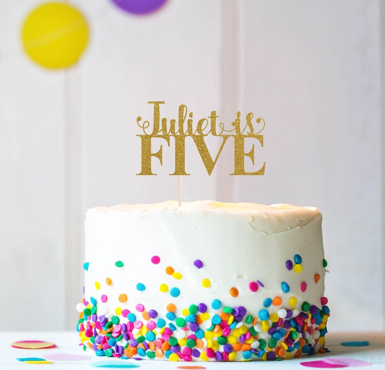 Any Name  Five Cake Topper Cake Decoration Glitter Party image 0